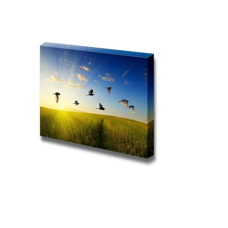 Away Wall Art - Wall26 - Canvas Prints Wall Art - A Flock of Birds Flying Away in the Sunrise | Modern Wall Decor/ Home Decoration Stretched Gallery Canvas Wrap Giclee Print. Ready to Hang - 16
