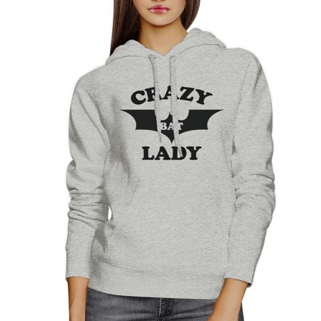 Crazy Bat Lady Gray Pullover Hoodie Unisex Cute Graphic Sweat Hoody