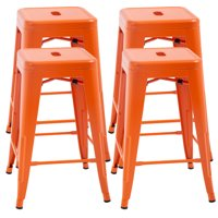 4 Metal Bar Stools Industrial Metal Stool Patio Furniture 24 Inches Kitchen Counter Stool Indoor/Outdoor Stool Moden Stackable Barstools Restaurant Dining Chairsbarstools