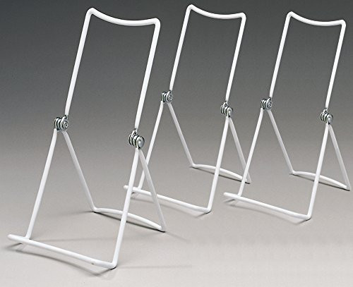 Metal Wire Easels White Vinyl Coated Display Plate Stand Holder Hinged Adjustable Multi Position - Set  sc 1 st  Walmart & Metal Wire Easels White Vinyl Coated Display Plate Stand Holder ...