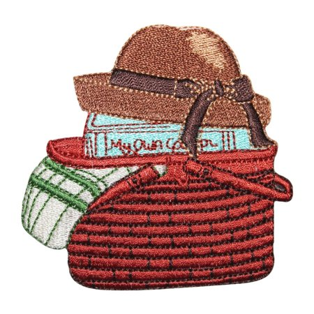 ID 8497 Picnic Basket Patch Summer Book Hat Craft Embroidered Iron On Applique