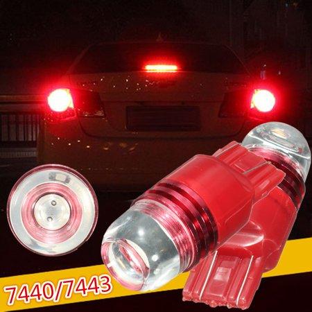 1/2Pcs Car 12V 7440 7443 Red Tail Rear Strobe Flashing Brake Light Bulb ()