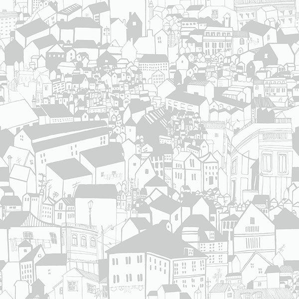 Eco Wallpaper Lissabon Grey Village Motif Wallpaper