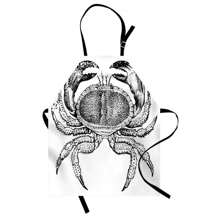 Crabs Apron Seafood Themed Design Vintage Engraved Illustration of an Edible Crab Print, Unisex Kitchen Bib Apron with Adjustable Neck for Cooking Baking Gardening, Black and White, by Ambesonne - Seafood Bib