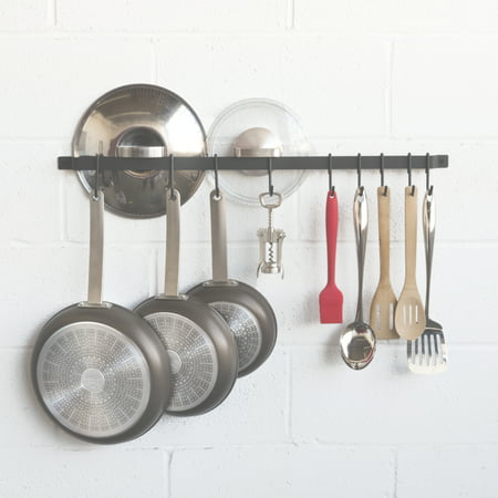 Gourmet Collection Pot Hooks - Hanging Iron Gourmet Kitchen Bar Rack 30 Inch Rail and 15 S Hooks Set Utensil Pot Pan or Lid Storage Organizer