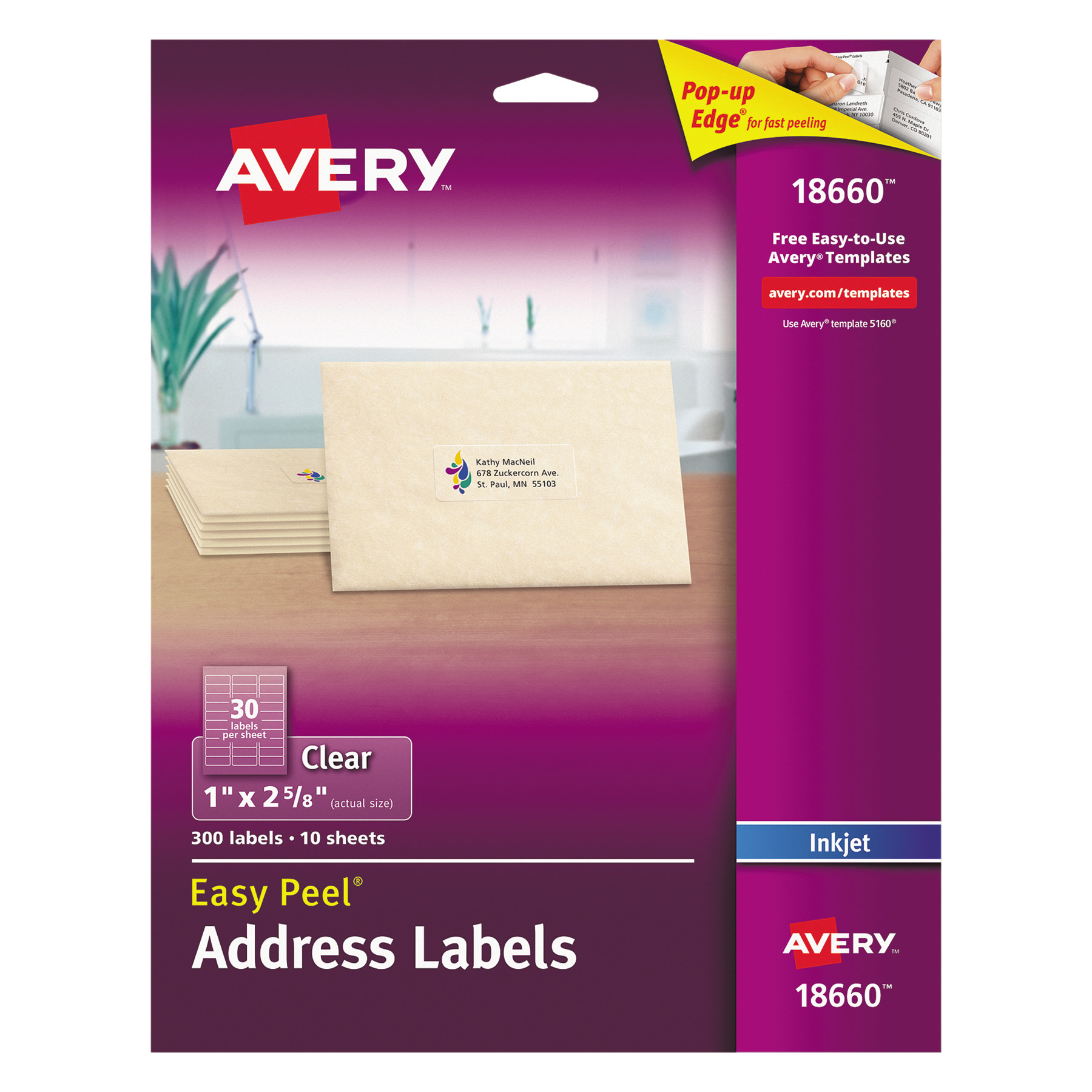 avery easy peel inkjet mailing labels1 x 2 5 8 clear 300 ct