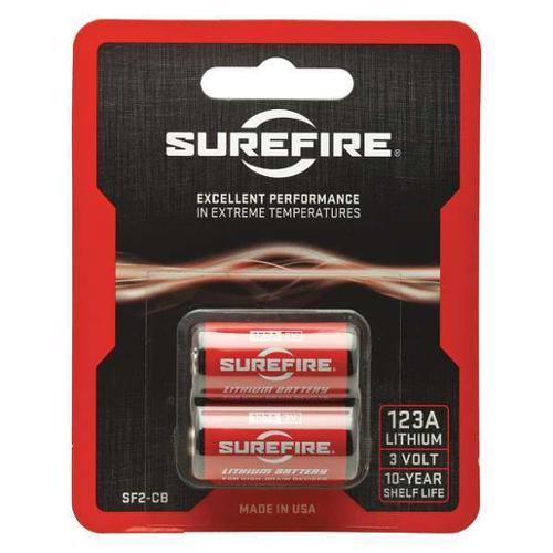 SUREFIRE SF2-CB Battery, 123A, Lithium, 3V, PK 2