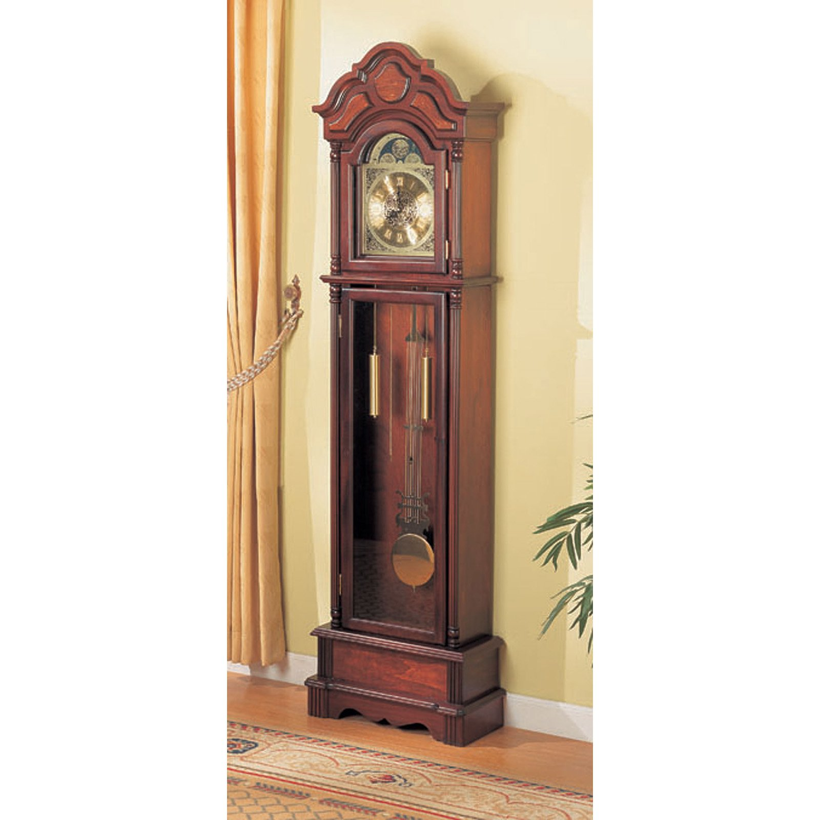 Grandfather Clock Home Chimes Cherry Finish Solid Wood Living Room Chime Chiming Ebay