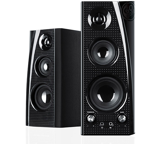 GOgroove BlueSYNC SLK Wireless Bluetooth Home Audio Stereo Speaker System (Pair) with Powerful Bass & Included Wall Mounting Brackets