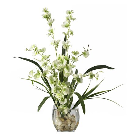 (Dancing Lady Orchid Liquid Illusion Silk Flower Arrangement, Green)