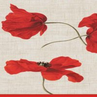 Entertaining with Caspari Dancing Poppies Paper Guest Towels, Ivory, Pack of 15