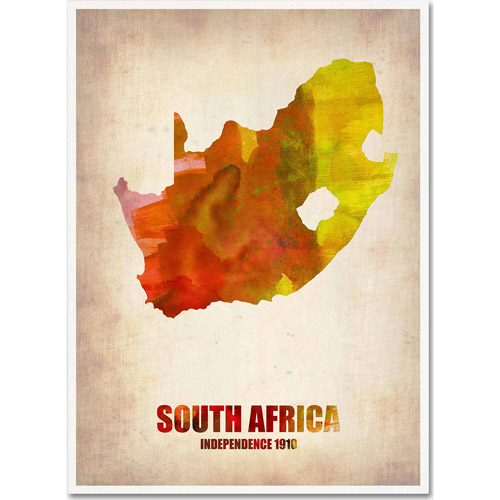 "Trademark Fine Art ""South Africa Watercolor Map"" Canvas Art by Naxart"