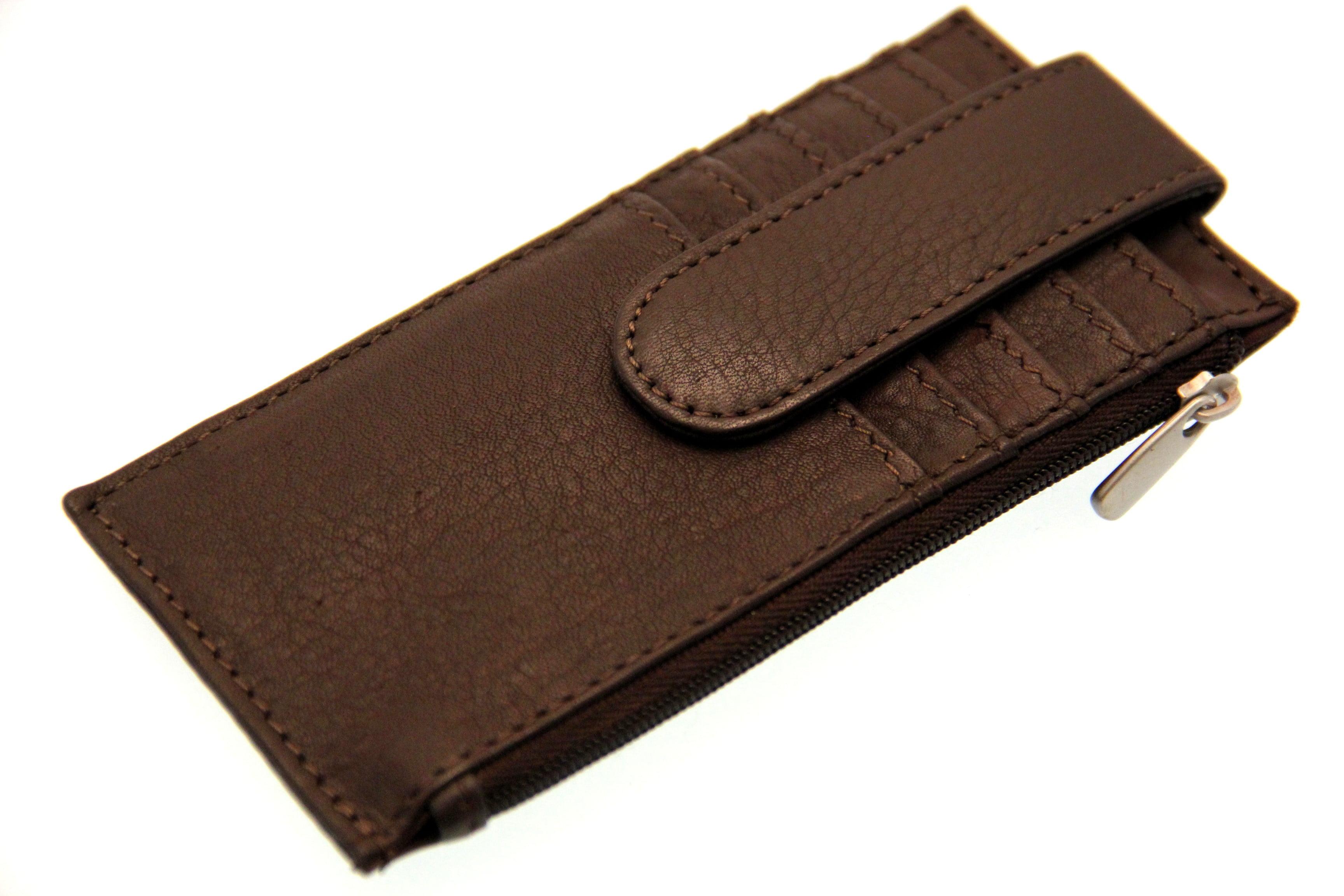 on sale e574d e126e Credit Card Holder Case Men Women Security Snap ID Slot Slim Genuine  Leather New