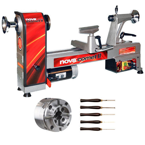 NOVA 46302 Comet II Bench Lathe Package with 48232 Chuck and 9033 Turning Tools