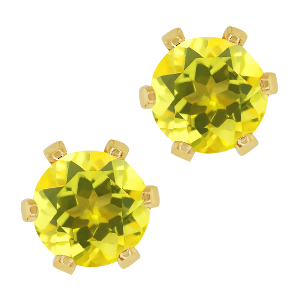 2.00 Ct Round Canary Mystic Topaz Gold Plated 6-prong Stud Earrings 6mm