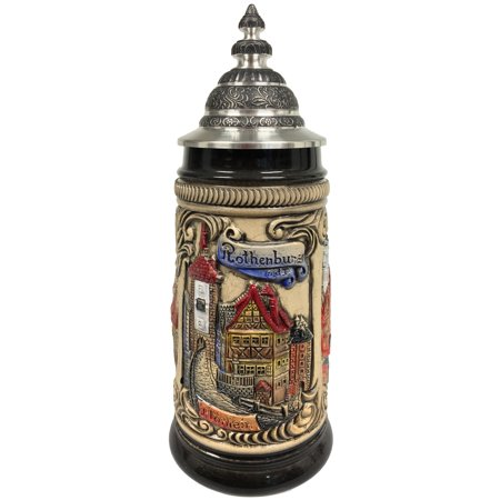- Rothenburg Germany Scenes of the City Colored Relief German Beer Stein .25 L