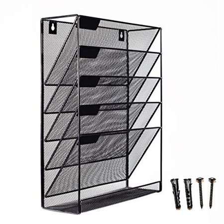 Mesh Wall Mounted Hanging Mail Document File Holder Organizer Tray - 5 Tier/Compartment Vertical Mount Letter Rack - Desk Paper Sorter (Black) for Office Kitchen Home Classroom Gym etc - image 1 de 1