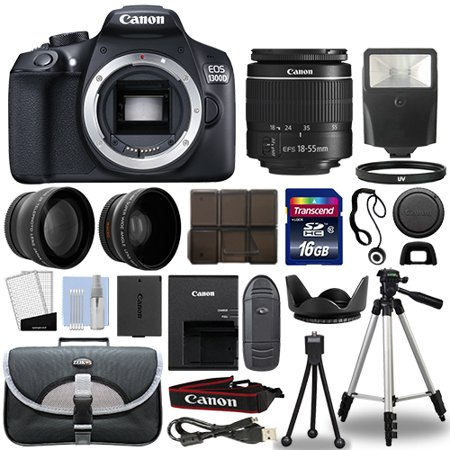 Canon 1300D / Rebel T6 DSLR Camera + 18-55mm 3 Lens Kit + 16GB Top Value