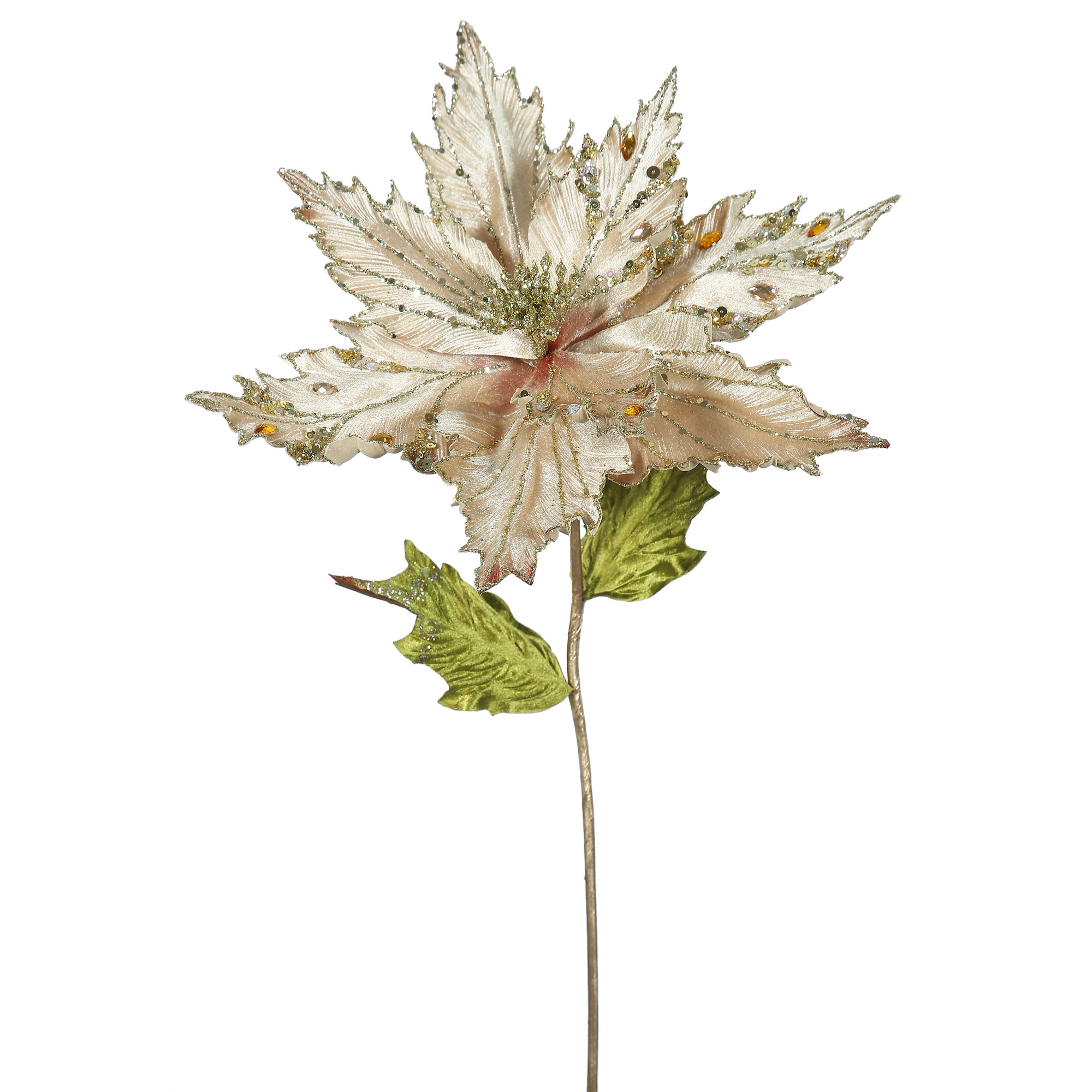 "Vickerman 26"" Champagne Poinsettia, 13"" Flower 3/B"