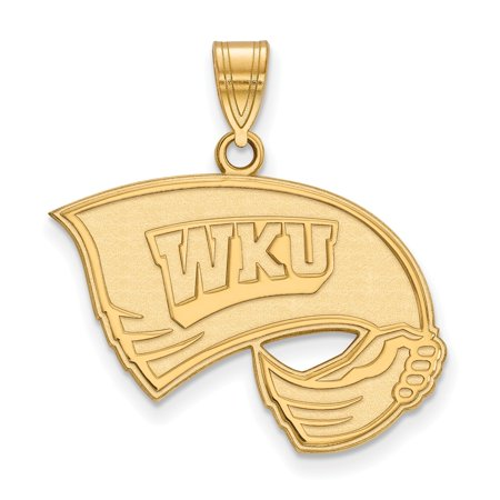 Solid 925 Sterling Silver with Gold-Toned Western Kentucky University Large Pendant (25mm x 27mm) ()