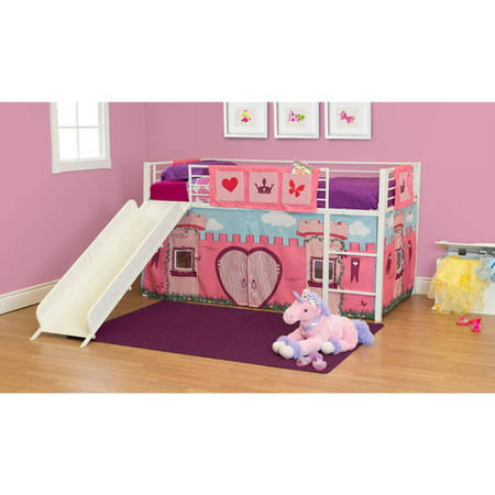 girls 39 fairytale twin loft bed with slide white. Black Bedroom Furniture Sets. Home Design Ideas