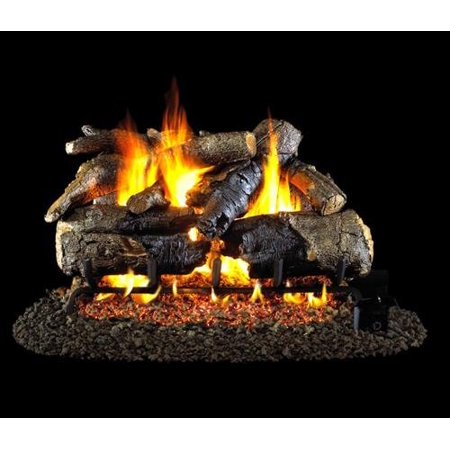 Peterson Real Fyre 30-inch Charred American Oak Gas Log Set With Vented Natural Gas Ansi Certified G46 Burner - Variable Flame Remote