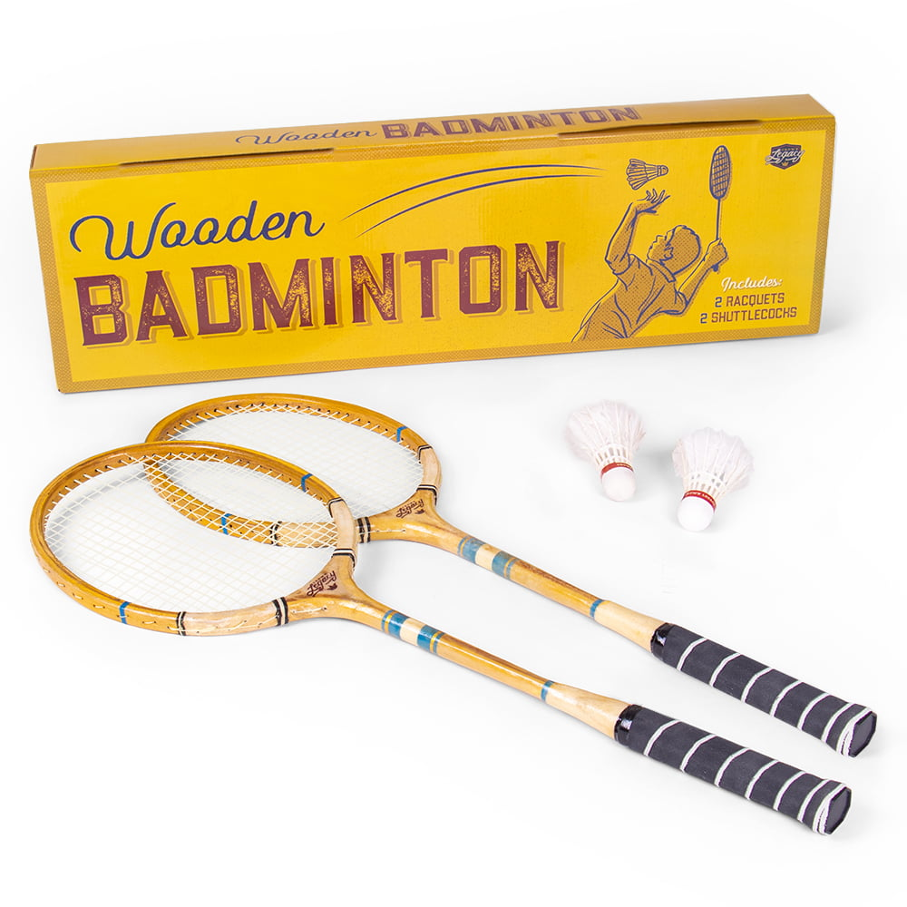 Crown Sporting Goods Vintage Wooden Badminton Set Classic Outdoor Lawn Game For Backyard Family Fun Includes 2 Solid Wood Racquets And Premium Feather Shuttlecocks Walmart Com Walmart Com