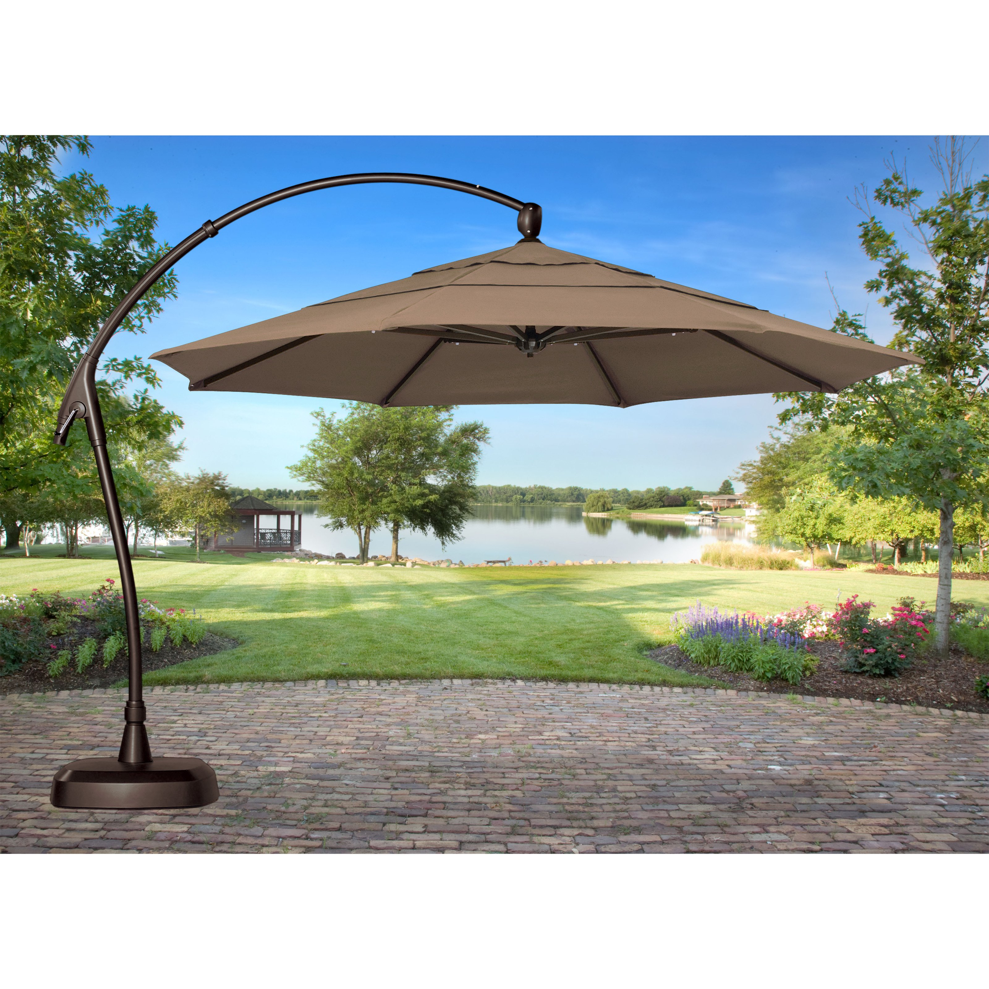 Etonnant Treasure Garden 11 Ft. Cantilever Offset Sunbrella Patio Umbrella With Base    Walmart.com