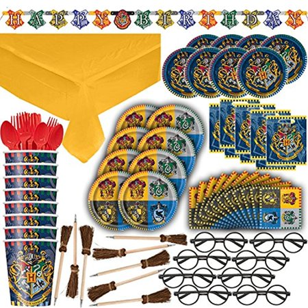 Harry Potter Themed Party Supplies, Decorations & Favors - 16 Guest - Small & Large Plates, Cups, Napkins, Tablecover, Cutlery, Loot Bags, Glasses, Pen Brooms, Birthday Banner - Hogwarts Theme - 20s Themed Party