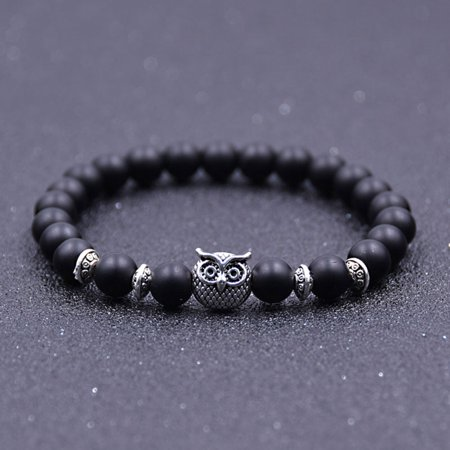 Fancyleo Vintage Owl Buddha Bead Bracelets Gift for Women And Men Wvt (Owl Beaded Bracelets)