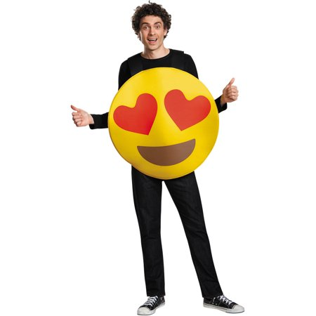 Heart Eyes Emoticon Adult Halloween Costume, One Size, Up to 52 - Eye Heart Sf Halloween
