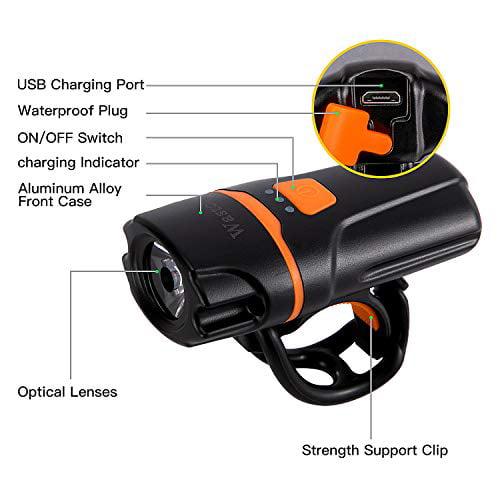Super Bright Bike Front Light 1200 Lumen Wastou Bike Lights IPX6 Waterproof
