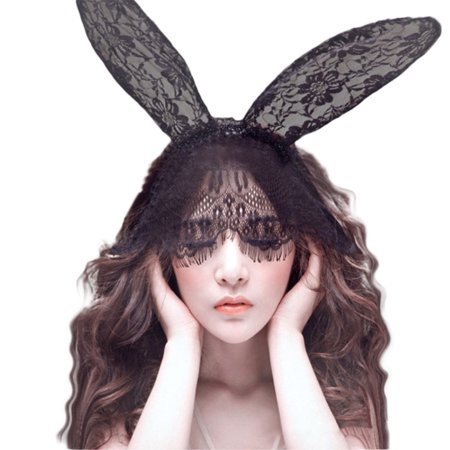 bdf4cae2a Women Rabbit Ears Hair Bands Black Lace Veil Eye Mask Blindfold Flirt Sex  Toy Halloween Party Headwear - Walmart.com
