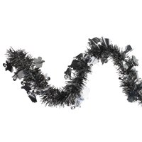 Black and Silver with Ghosts Halloween Tinsel Garland - 50 feet, Unlit