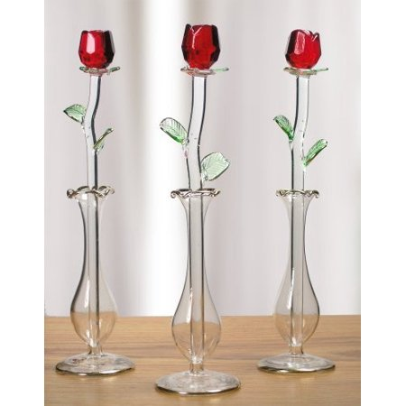 Red Rose in Glass Vase - Crystal Rose That Will Last Forever - Gift Boxed - I Love You - Valentine's Day - Mom - Wife - Girlfriend~3 (Moser Crystal Vase)