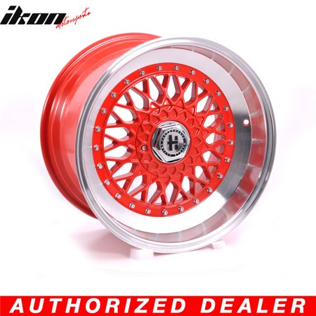Chrome Lip Wheels (17 Inch Hayame Performance Wheel Rims Red Face Red Machine Lip & Chrome Rivets )