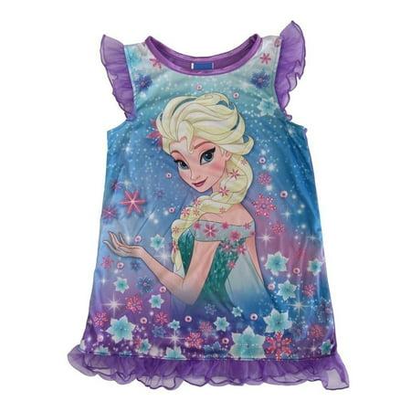 Disney Girls Purple Frozen Elsa Ruffles Short Sleeve Nightgown - Disney Frozen Elsa Gown