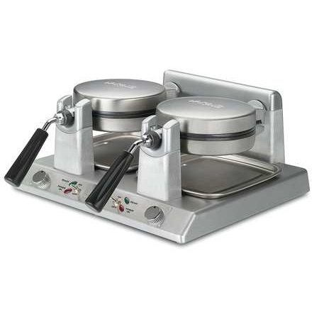 WARING COMMERCIAL WW250 Double Belgian Waffle Maker,120V Choose from an amazing array of waffle makers at Zoro-we have mini waffle makers, waffle cone maker models, and assorted colors and styles of both Belgian- and American-style waffle makers. This Double Belgian Waffle Maker includes characteristics like: VOLTAGE: 120, WATTS: 2400, COOKING SURFACE  IN  : 7FeaturesItem: Double Belgian Waffle MakerOverall Length (In.): 20 1/2Cooking Surface (in.): 7Includes: Measuring Cup & Triple Coated Non-Stick Plates,Power On and  ready-to-bake  LED IndicatorsVoltage: 120Material: Die CastPlug: NEMA 5-15POverall Height (In.): 8Dia. (In.): 7Type: 60 1 1/4  Waffles/HrHeat Setting: Adjustable Temp Range  1-5Watts: 2400Overall Width (In.): 18 1/4Amps: 10