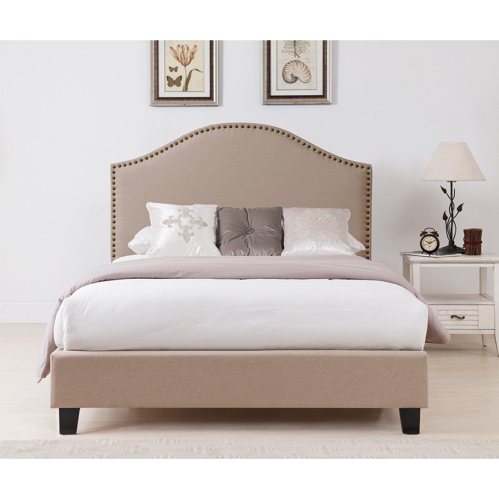 Boraam Beige Upholstered Nail Head Bed, Multiple Sizes
