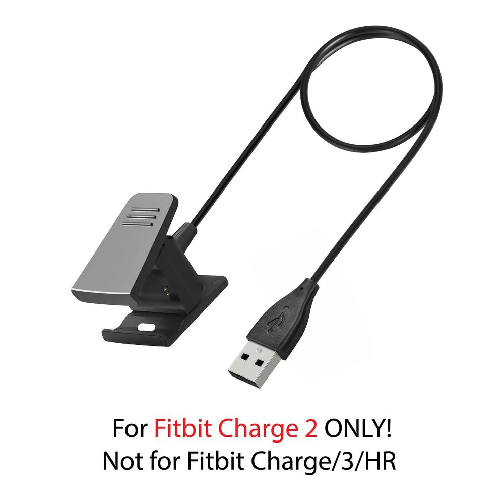 Zodaca 2 Pcs Set Replacement Wrist Band with USB Charging Cable Charge for Fitbit Charge 2- Gray - image 1 of 4