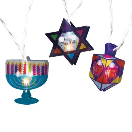 Plastic Dreidel - Set of 10 Menorah, Star of David and Dreidel Hanukkah Hologram Novelty Lights -White Wire
