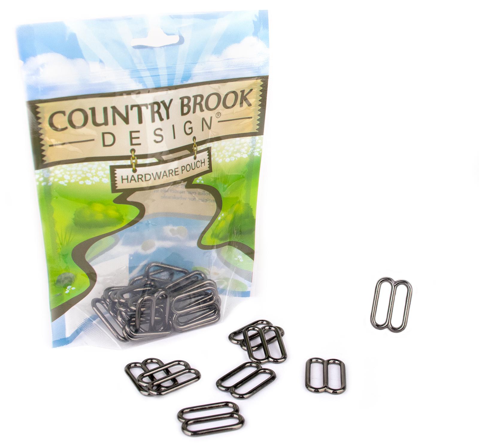 Country Brook Design® 1 Inch Gunmetal Metal Round Wide-Mouth Triglide Slides