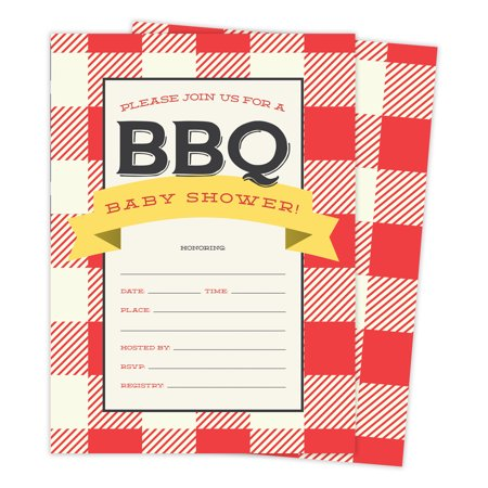 BBQ 2 Cookout Baby Shower Invitations Invite Cards (25 Count) With Envelopes & Seal Stickers Vinyl Girl Boy - Baby Shower Boy Invitations