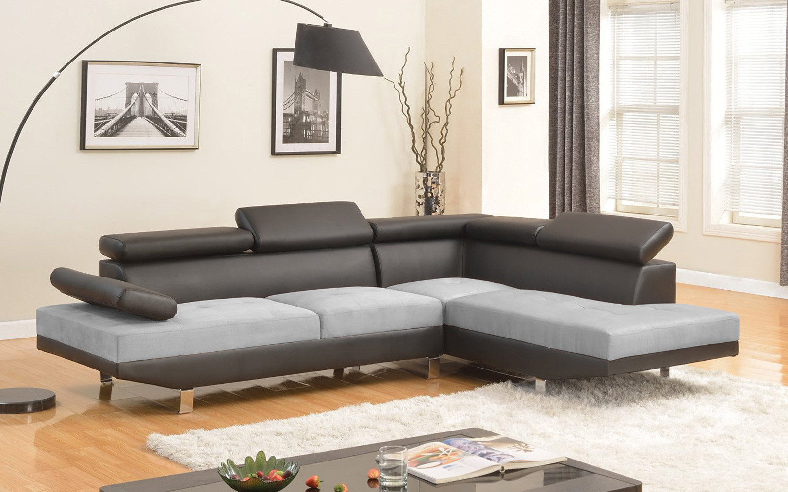 2 Piece Modern Microfiber and Bonded Leather 2 Tone Sectional Sofa by