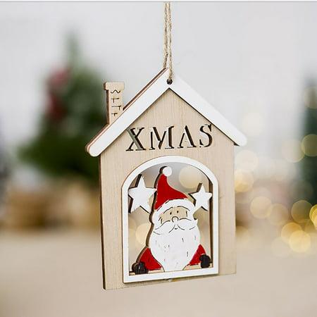 Christmas Santa Claus Decorations Wooden Shapes Ornaments Craft Xmas - Craft Christmas Gifts