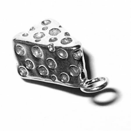 """Sterling Silver 7"""" 4.5mm Charm Bracelet With Attached 3D Swiss Cheese Slice Charm"""