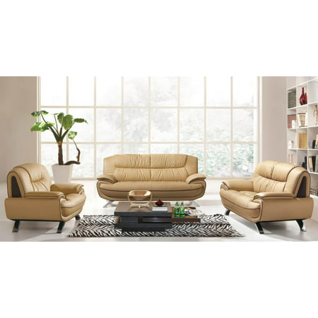 Italian Living Room Set - ESF 405 Brown Chic Italian Leather Sofa Living Room Set 3Pcs Contemporary Modern