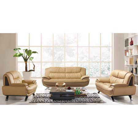 Astounding Esf 405 Brown Chic Italian Leather Sofa Living Room Set 3Pcs Contemporary Modern Gmtry Best Dining Table And Chair Ideas Images Gmtryco