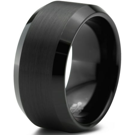 Charming Jewelers Tungsten Wedding Band Ring 10mm for Men Women Comfort Fit Black Beveled Edge Polished Brushed Lifetime Guarantee