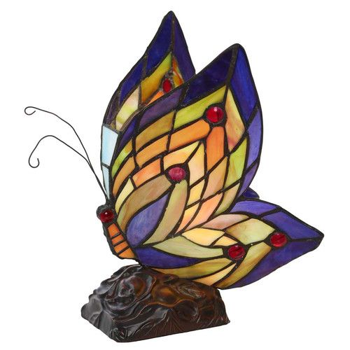 August Grove Liliana Butterfly Wings Tiffany Style Stained Glass 9.5u0027u0027 Table  Lamp